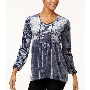 Style and Co Crushed Velvet Peasant Blouse